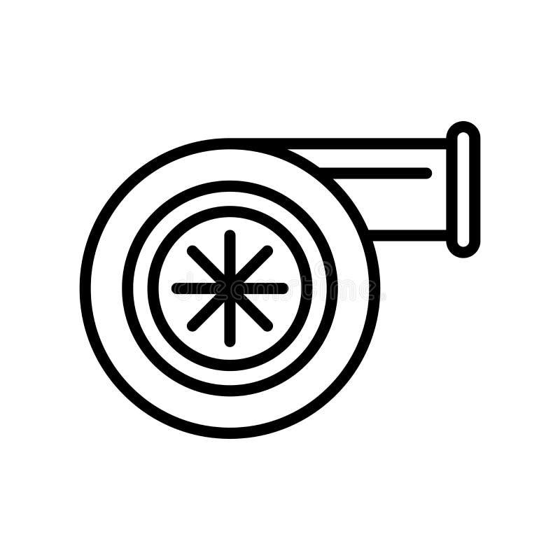Vector del icono de la turbina aislado en el fondo, la muestra de la turbina, la línea y los elementos blancos del esquema en est stock de ilustración