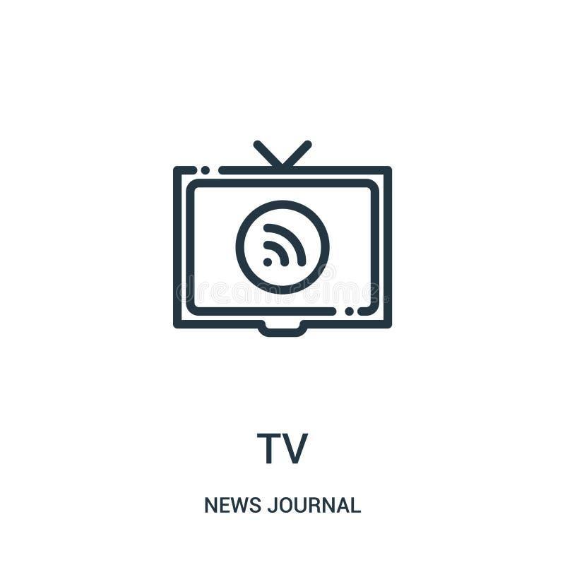 vector del icono de la TV de la colección del diario de las noticias Línea fina ejemplo del vector del icono del esquema de la TV libre illustration