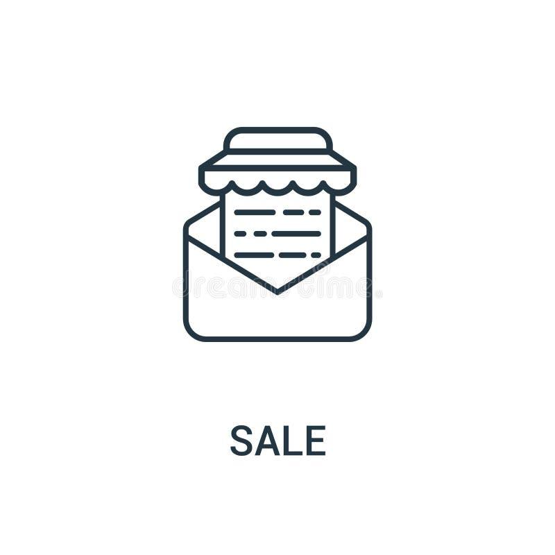 vector del icono de la venta de la colección de los anuncios Línea fina ejemplo del vector del icono del esquema de la venta Símb stock de ilustración
