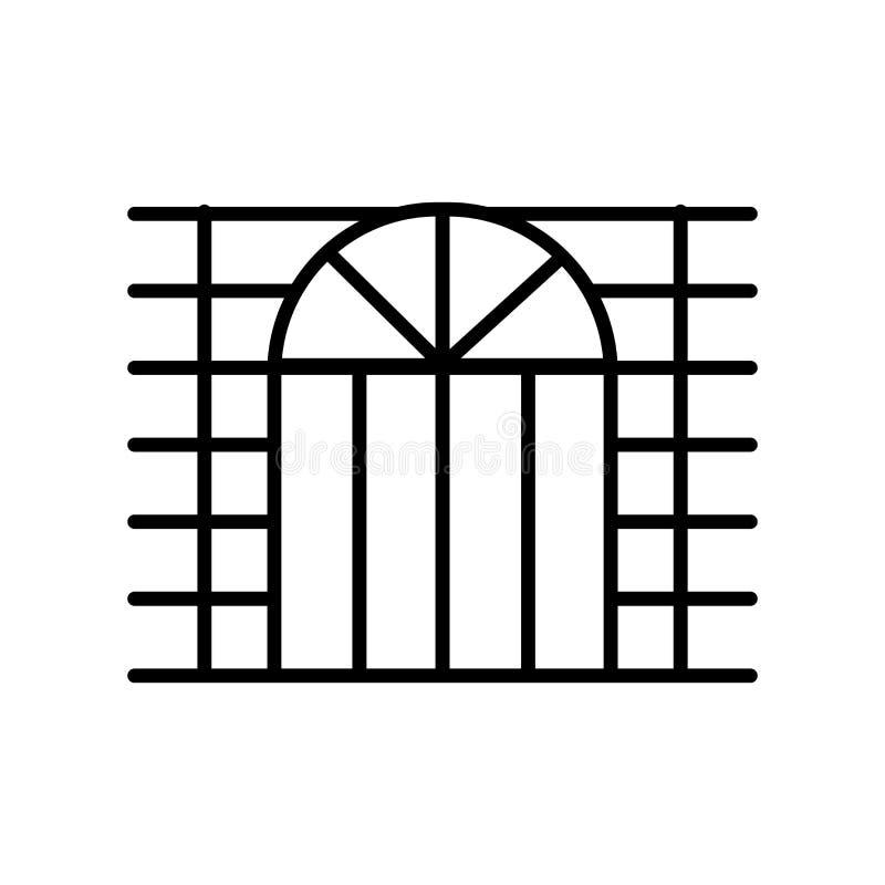 Vector del icono de la ventana aislado en el fondo blanco, muestra de la ventana, línea fina elementos del diseño en estilo del e stock de ilustración
