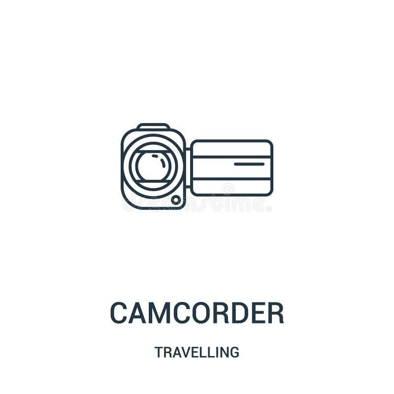 vector del icono de la videocámara de la colección que viaja L?nea fina ejemplo del vector del icono del esquema de la videoc?mar stock de ilustración