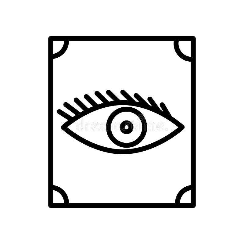 Vector del icono de la visión aislado en el fondo, la muestra de la visión, la línea y los elementos blancos del esquema en estil stock de ilustración