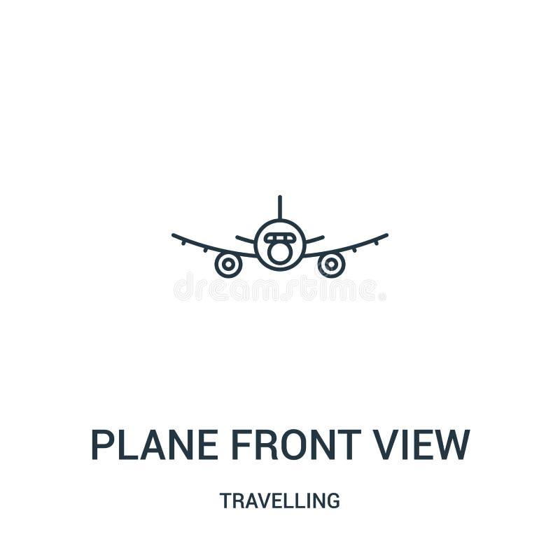 vector del icono de la vista delantera del avión de la colección que viaja Línea fina ejemplo plano del vector del icono del esqu stock de ilustración
