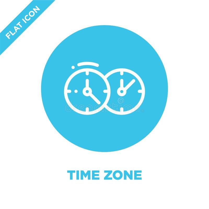 vector del icono de la zona horaria Línea fina ejemplo del vector del icono del esquema de la zona horaria símbolo de la zona hor stock de ilustración