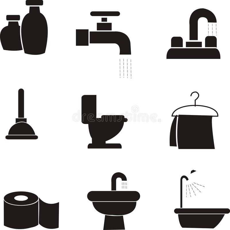 Vector del icono de las amenidades del cuarto de baño stock de ilustración
