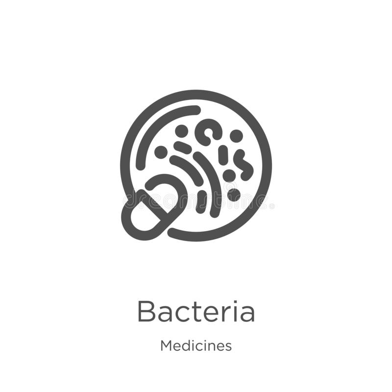 vector del icono de las bacterias de la colección de las medicinas L?nea fina ejemplo del vector del icono del esquema de las bac stock de ilustración
