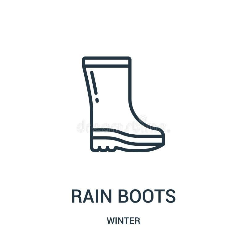 vector del icono de las botas de lluvia de la colección del invierno Línea fina ejemplo del vector del icono del esquema de las b stock de ilustración