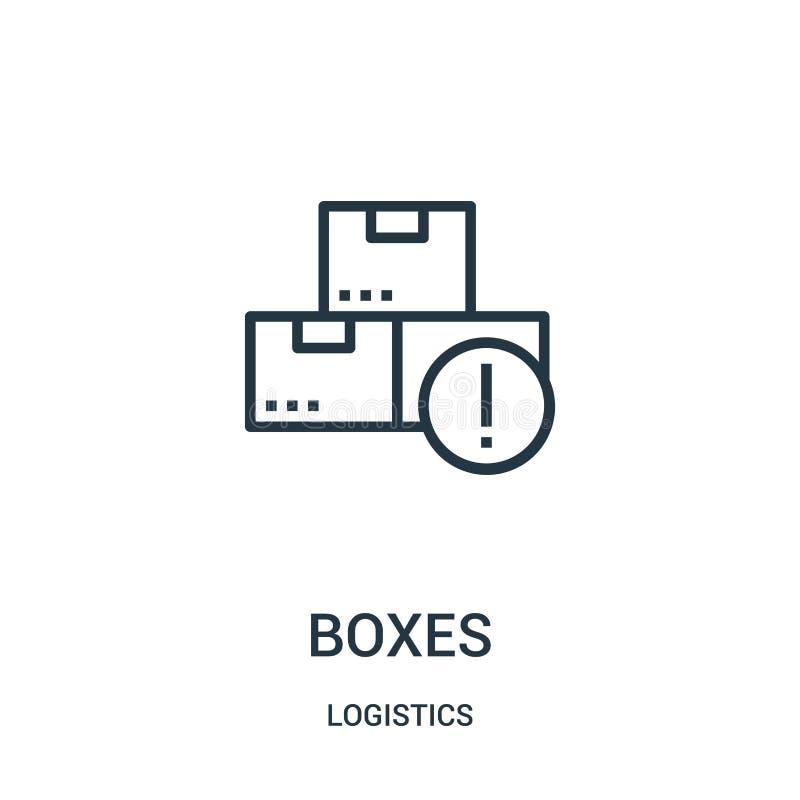 vector del icono de las cajas de la colección de la logística Línea fina ejemplo del vector del icono del esquema de las cajas Sí libre illustration