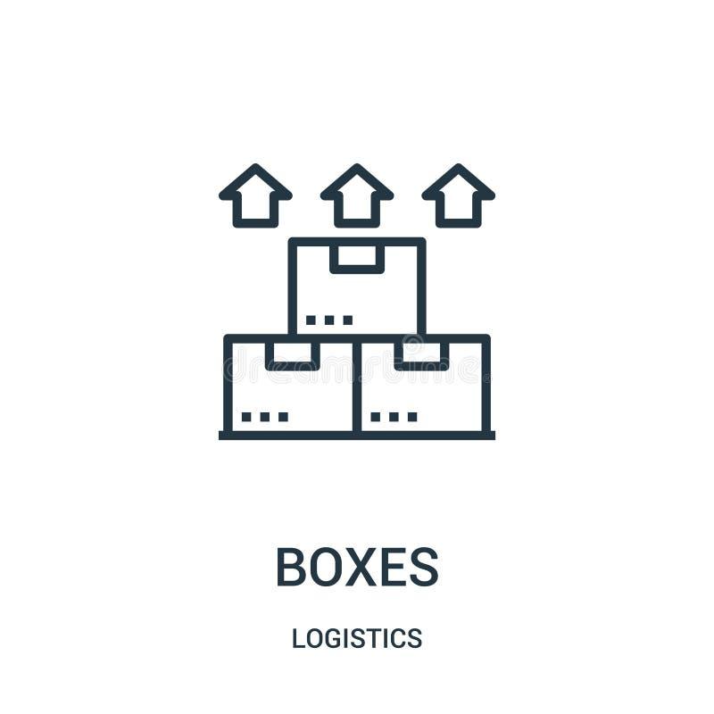 vector del icono de las cajas de la colección de la logística Línea fina ejemplo del vector del icono del esquema de las cajas Sí stock de ilustración