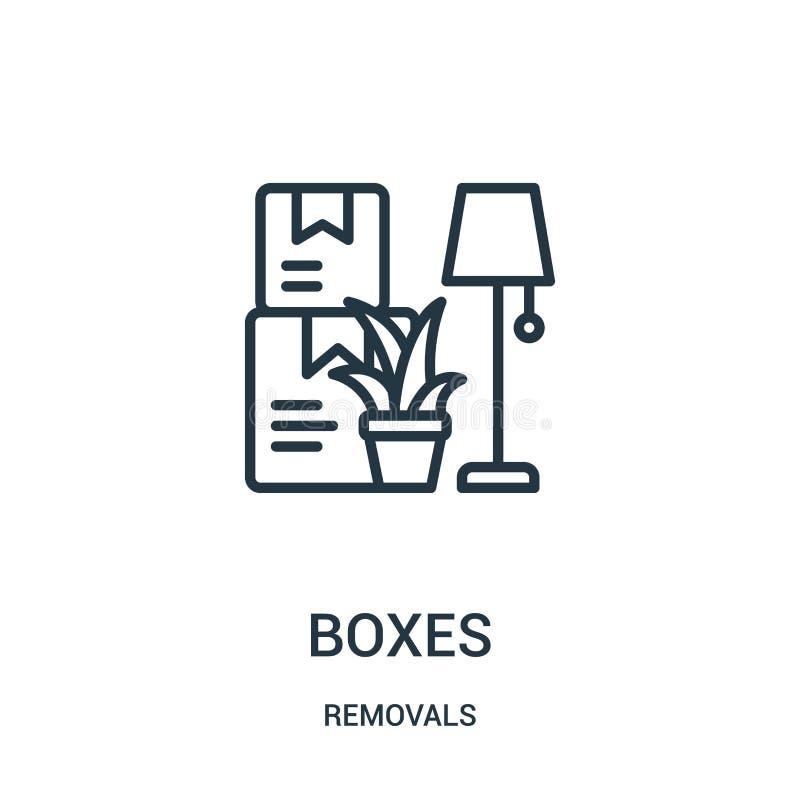 vector del icono de las cajas de la colección de los retiros Línea fina ejemplo del vector del icono del esquema de las cajas Sím libre illustration