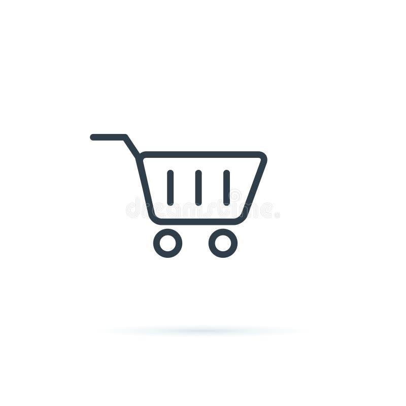Vector del icono de las compras Icono del carro de compras Icono de la compra para la tienda del comercio electrónico Línea icono libre illustration