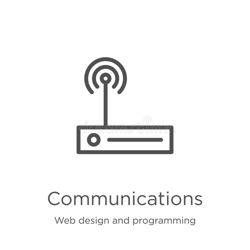 vector del icono de las comunicaciones del diseño web y de la colección programada L?nea fina ejemplo del vector del icono del es stock de ilustración