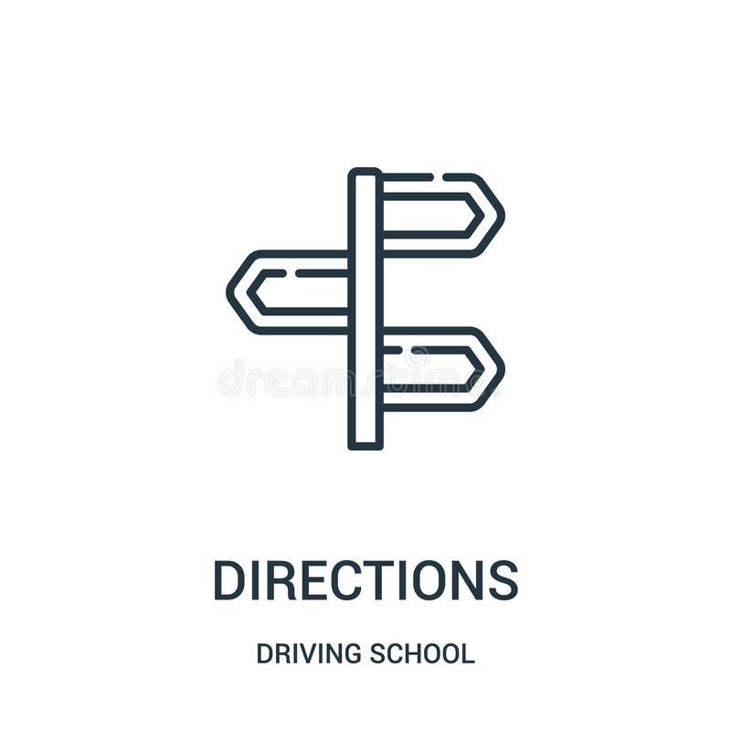 vector del icono de las direcciones de la colección de la escuela de conducción L?nea fina ejemplo del vector del icono del esque libre illustration
