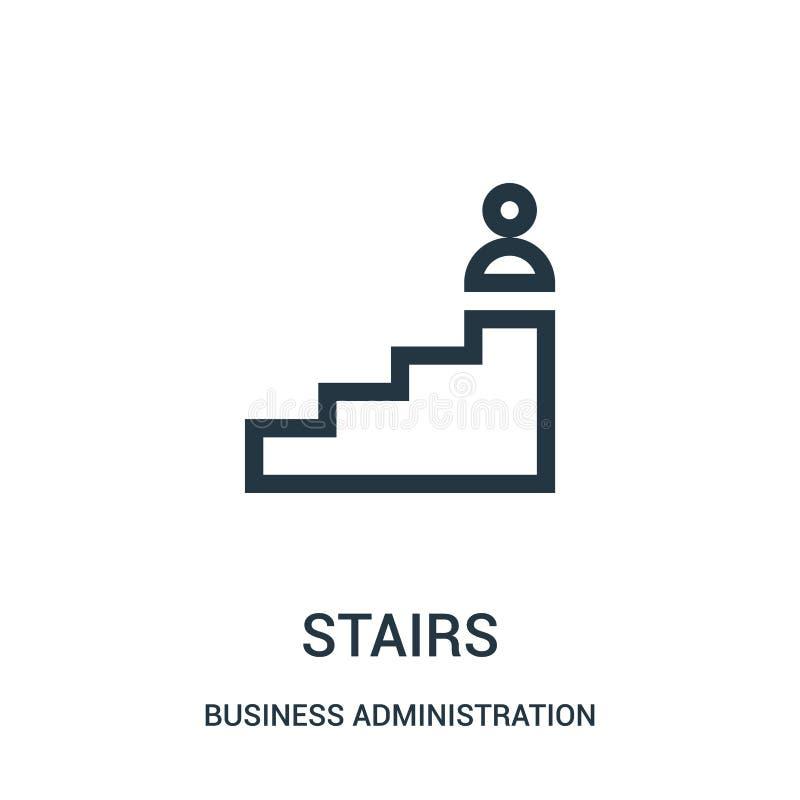 vector del icono de las escaleras de la colección de la administración de empresas Línea fina ejemplo del vector del icono del es ilustración del vector