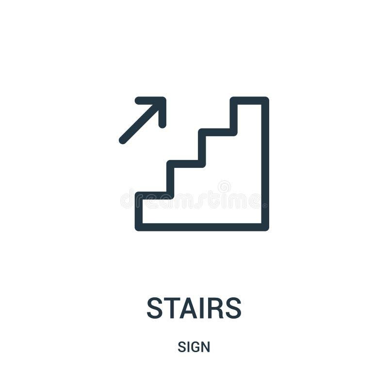vector del icono de las escaleras de la colección de la muestra Línea fina ejemplo del vector del icono del esquema de las escale libre illustration