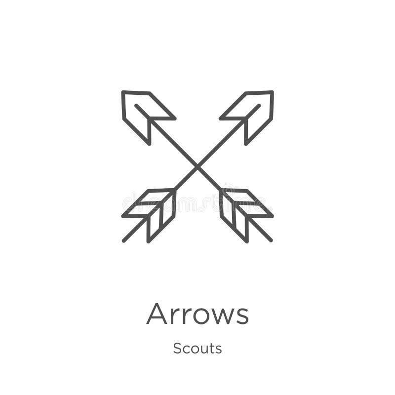 vector del icono de las flechas de la colección de los exploradores Línea fina ejemplo del vector del icono del esquema de las fl ilustración del vector