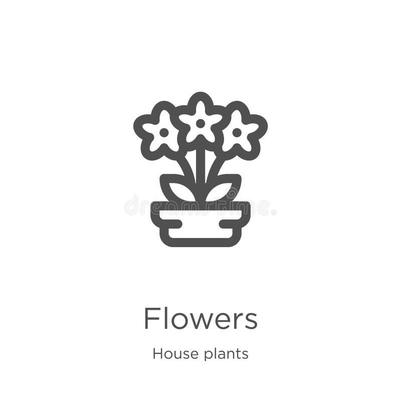 vector del icono de las flores de la colección de las plantas de la casa L?nea fina ejemplo del vector del icono del esquema de l stock de ilustración