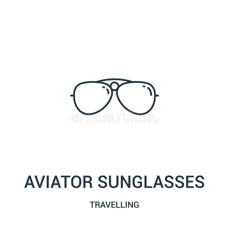 vector del icono de las gafas de sol tipo aviador de la colección que viaja Línea fina ejemplo del vector del icono del esquema d ilustración del vector