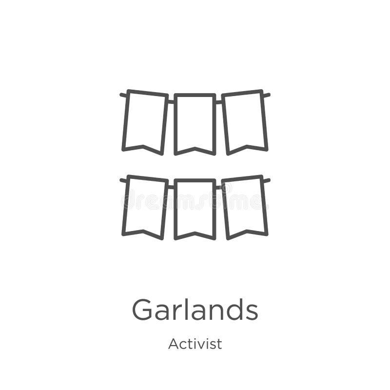 vector del icono de las guirnaldas de la colección del activista L?nea fina ejemplo del vector del icono del esquema de las guirn ilustración del vector