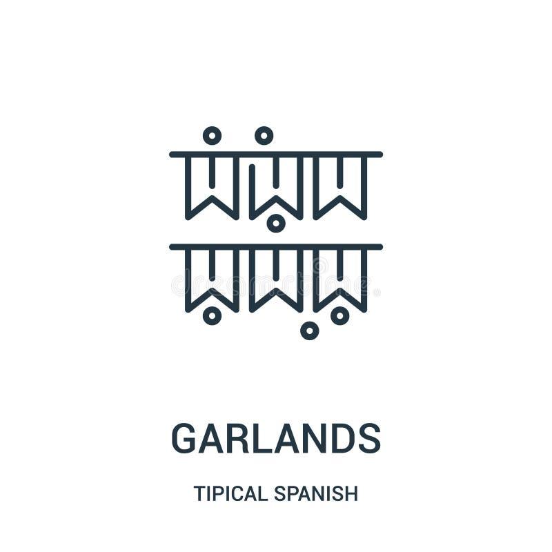vector del icono de las guirnaldas de la colección española tipical Línea fina ejemplo del vector del icono del esquema de las gu ilustración del vector