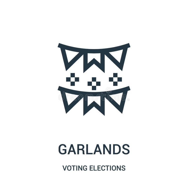 vector del icono de las guirnaldas de la colección de votación de las elecciones L?nea fina ejemplo del vector del icono del esqu libre illustration
