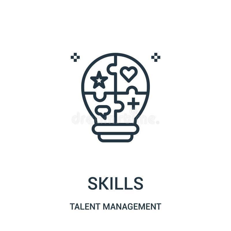 vector del icono de las habilidades de la colección de la gestión del talento L?nea fina ejemplo del vector del icono del esquema libre illustration