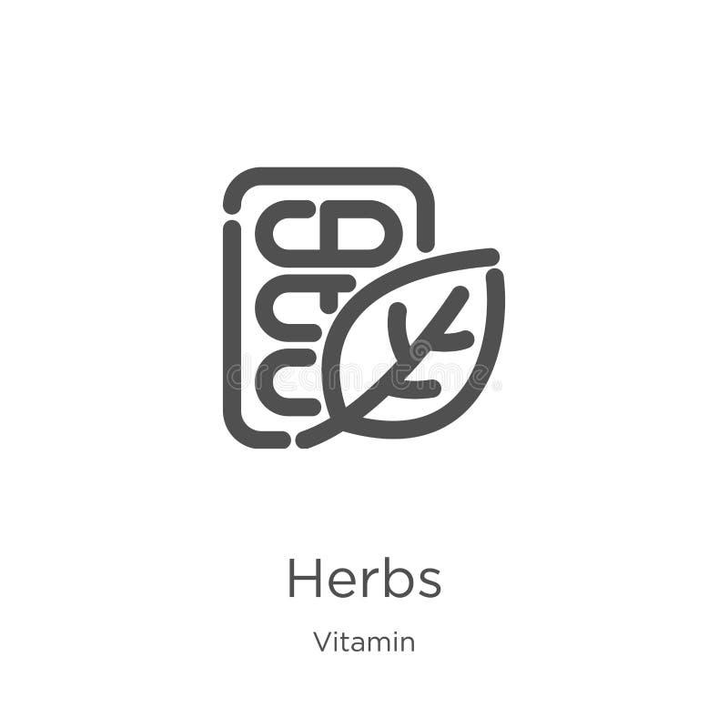 vector del icono de las hierbas de la colección de la vitamina Línea fina ejemplo del vector del icono del esquema de las hierbas stock de ilustración