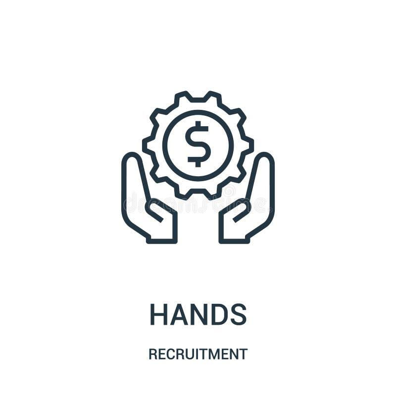 vector del icono de las manos de la colección del reclutamiento L?nea fina ejemplo del vector del icono del esquema de las manos ilustración del vector