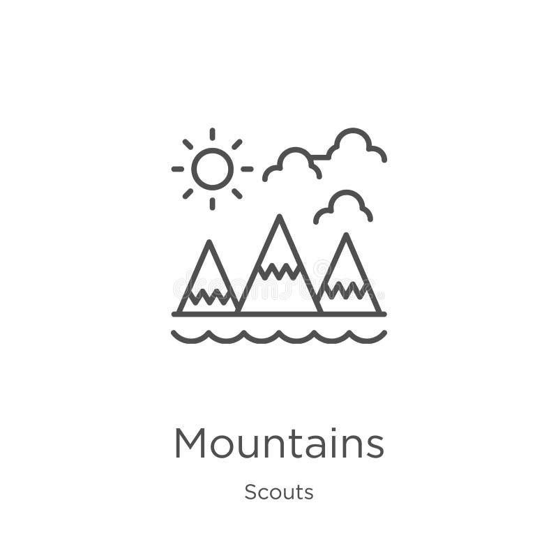vector del icono de las montañas de la colección de los exploradores Línea fina ejemplo del vector del icono del esquema de las m ilustración del vector