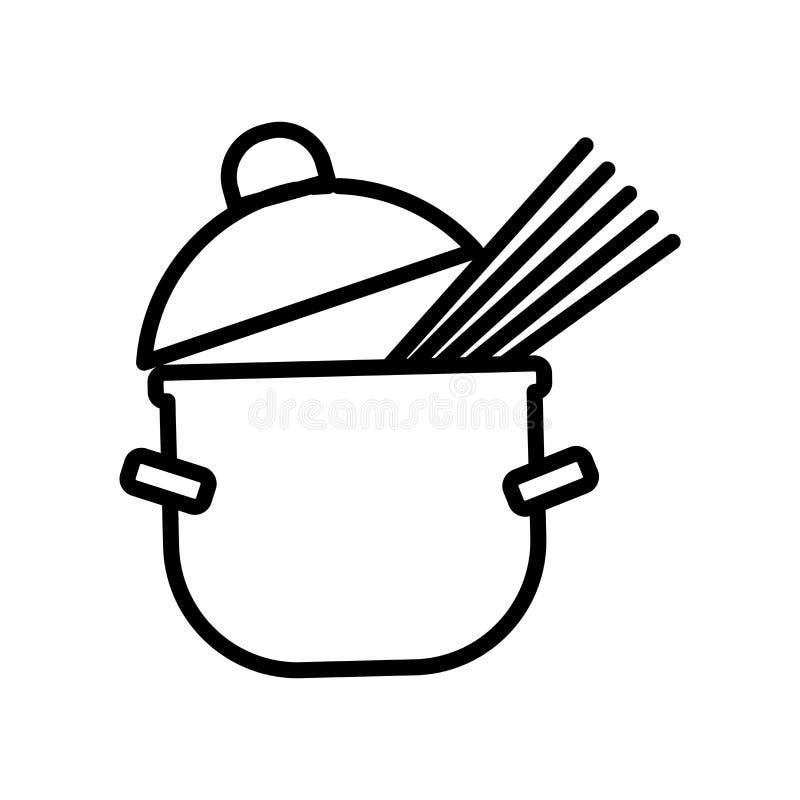 Vector del icono de las pastas aislado en el fondo blanco, la muestra de las pastas, la línea o la muestra linear, diseño del ele stock de ilustración