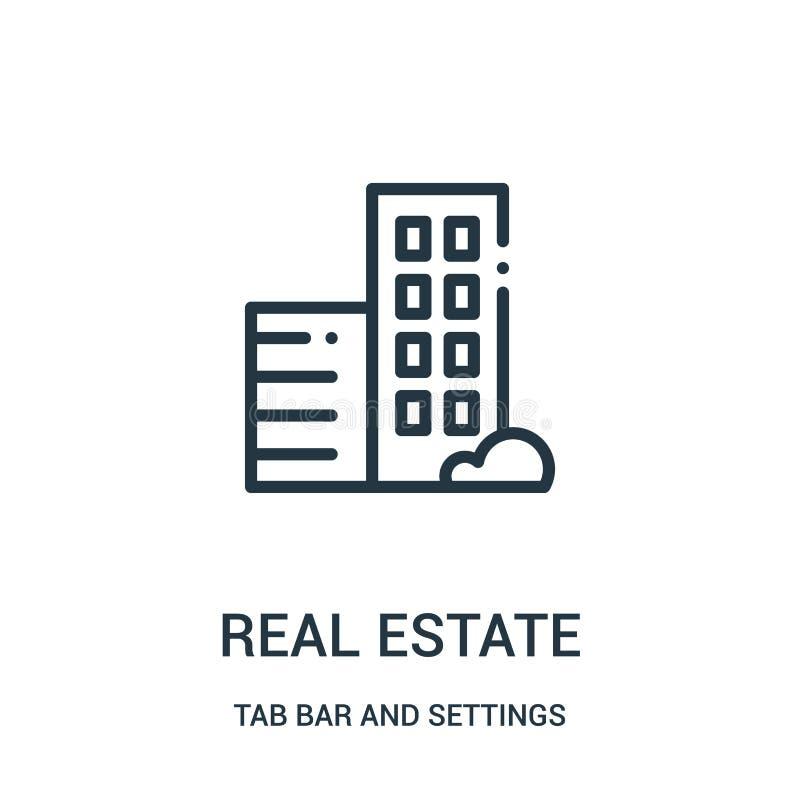 vector del icono de las propiedades inmobiliarias de la barra de la etiqueta y de la colección de los ajustes L?nea fina ejemplo  ilustración del vector