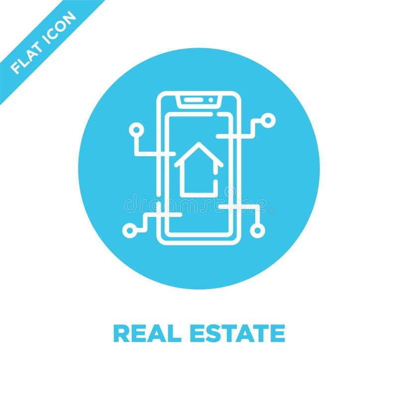 vector del icono de las propiedades inmobiliarias de la colección casera elegante Línea fina ejemplo del vector del icono del esq ilustración del vector