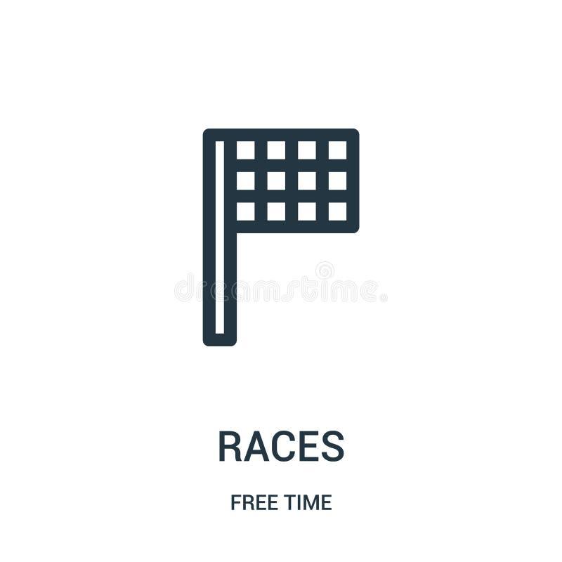 vector del icono de las razas de la colección del tiempo libre Línea fina ejemplo del vector del icono del esquema de las razas S stock de ilustración