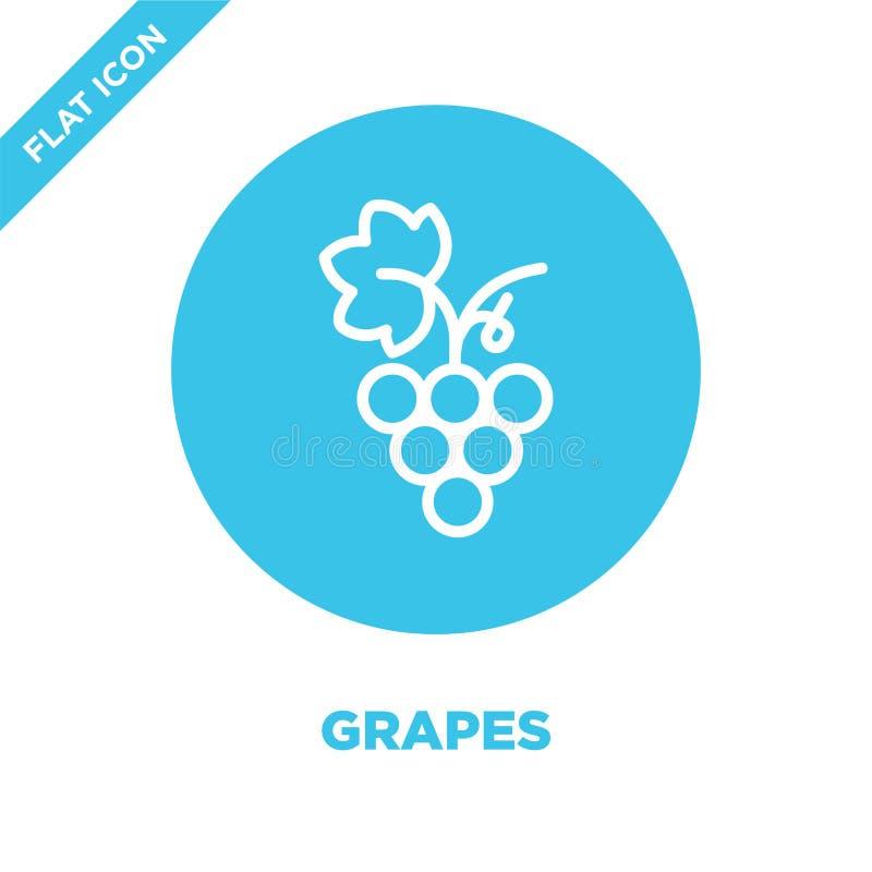 vector del icono de las uvas de la colección de las estaciones Línea fina ejemplo del vector del icono del esquema de las uvas Sí stock de ilustración