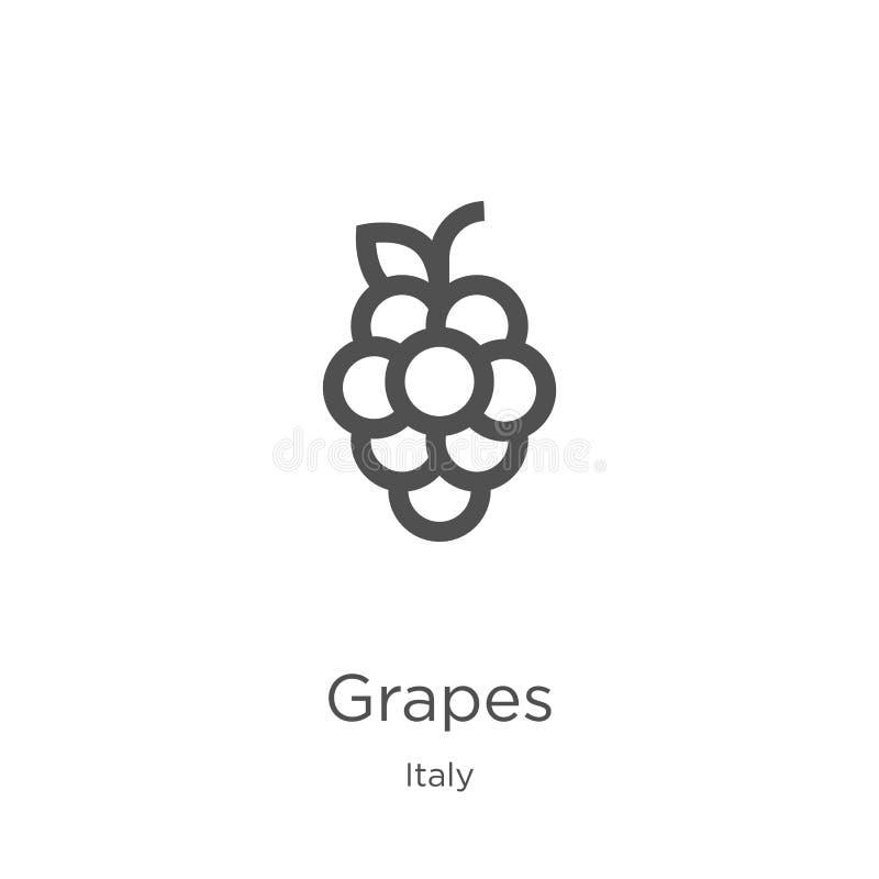 vector del icono de las uvas de la colección de Italia L?nea fina ejemplo del vector del icono del esquema de las uvas Esquema, l stock de ilustración
