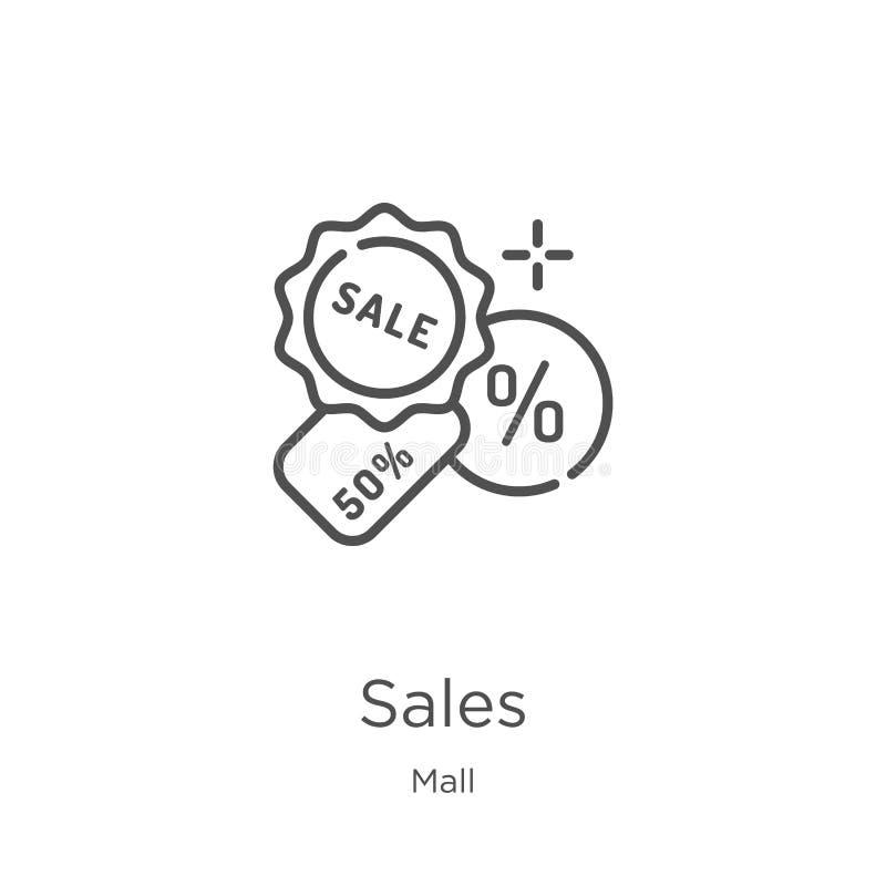vector del icono de las ventas de la colección de la alameda L?nea fina ejemplo del vector del icono del esquema de las ventas Es ilustración del vector