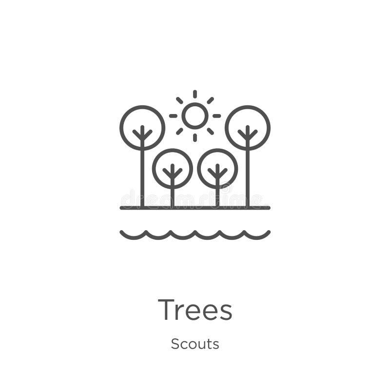 vector del icono de los árboles de la colección de los exploradores Línea fina ejemplo del vector del icono del esquema de los ár stock de ilustración