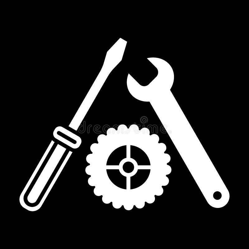 Vector del icono de los ajustes, del destornillador, de la llave y del engranaje Icono de la herramienta aislado en negro Manteng libre illustration