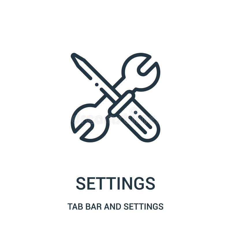 vector del icono de los ajustes de la barra de la etiqueta y de la colecci?n de los ajustes L?nea fina ejemplo del vector del ico libre illustration