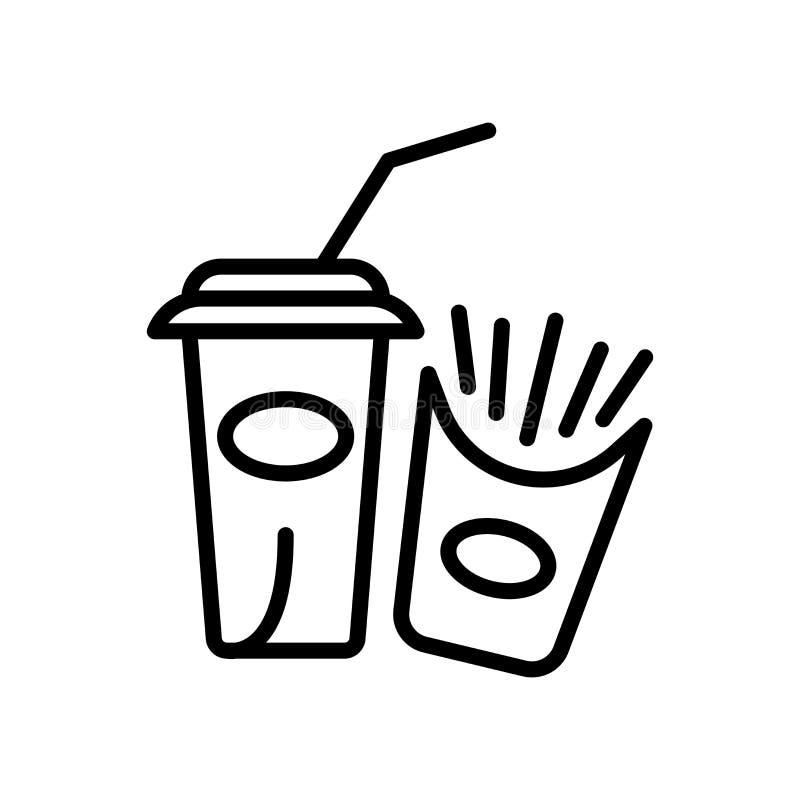 Vector del icono de los alimentos de preparación rápida aislado en el fondo blanco, la muestra de los alimentos de preparación rá stock de ilustración