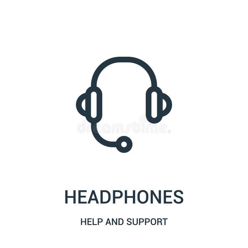 vector del icono de los auriculares de la colección de la ayuda y de la ayuda Línea fina ejemplo del vector del icono del esquema libre illustration