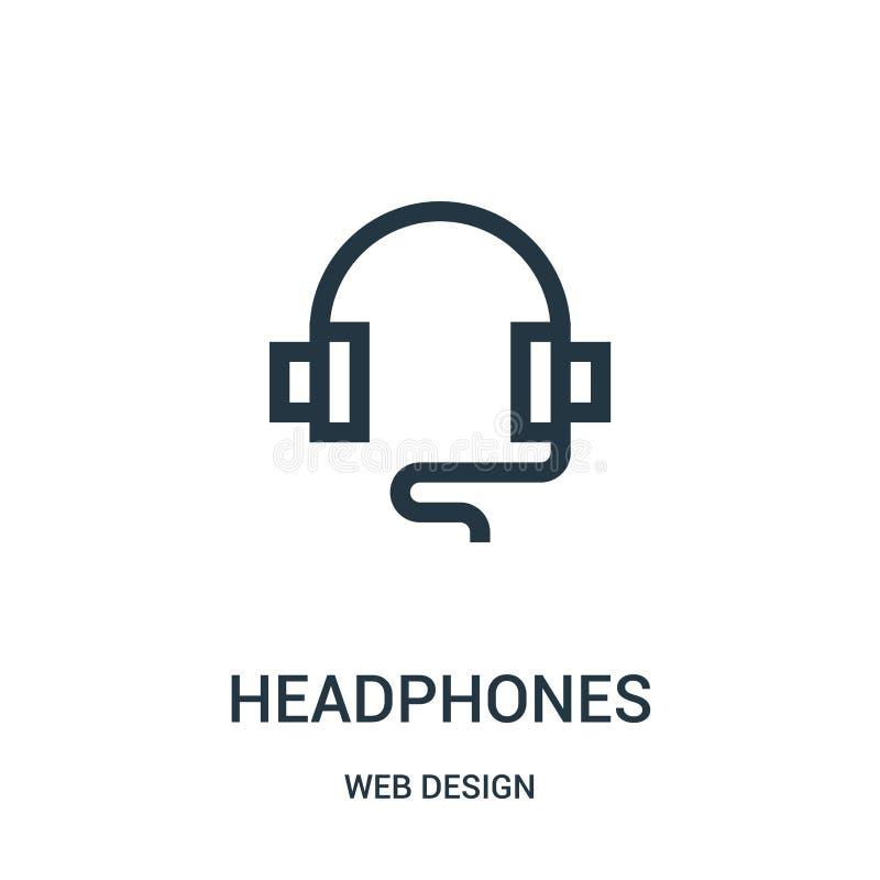 vector del icono de los auriculares de la colección del diseño web Línea fina ejemplo del vector del icono del esquema de los aur stock de ilustración