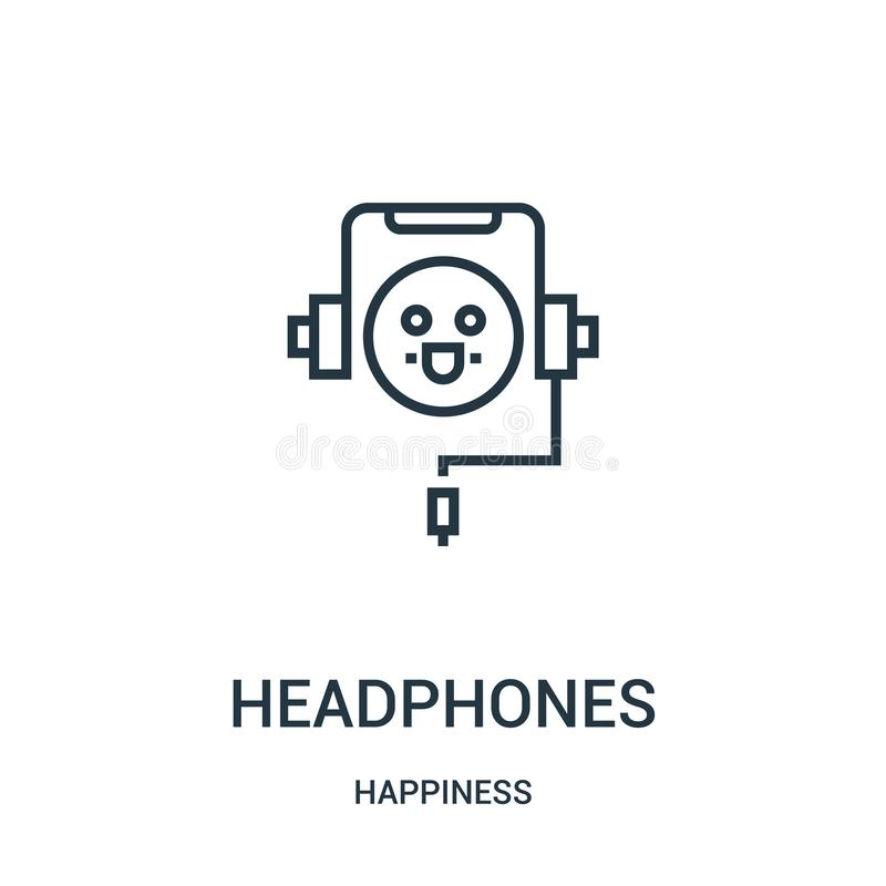 vector del icono de los auriculares de la colección de la felicidad Línea fina ejemplo del vector del icono del esquema de los au ilustración del vector