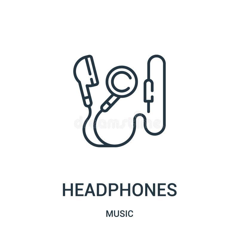 vector del icono de los auriculares de la colección de música Línea fina ejemplo del vector del icono del esquema de los auricula libre illustration