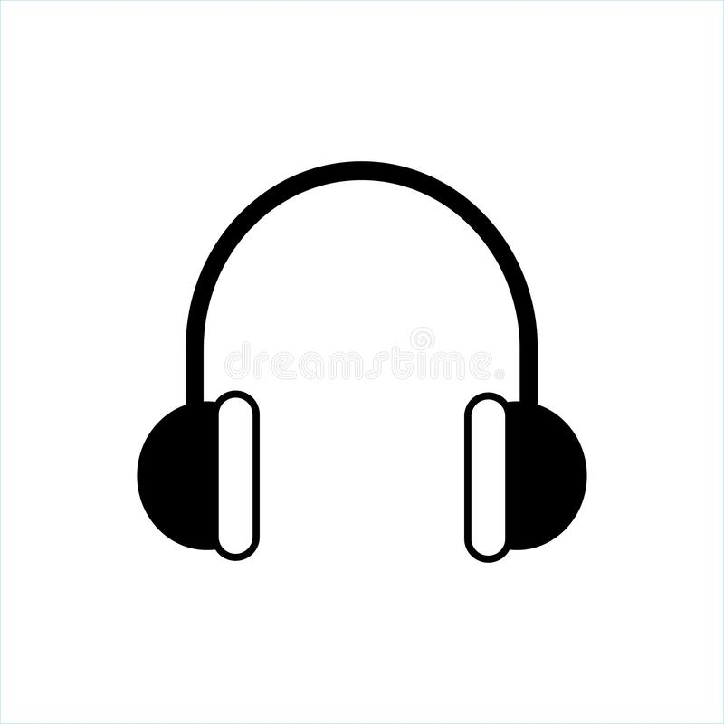 Vector del icono de los auriculares, icono de la música, vector de la música stock de ilustración
