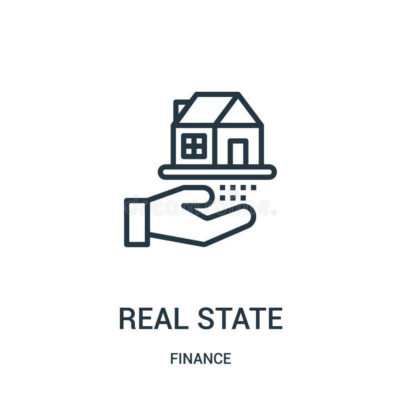 vector del icono de los bienes inmuebles de la colección de las finanzas Línea fina ejemplo del vector del icono del esquema de l libre illustration