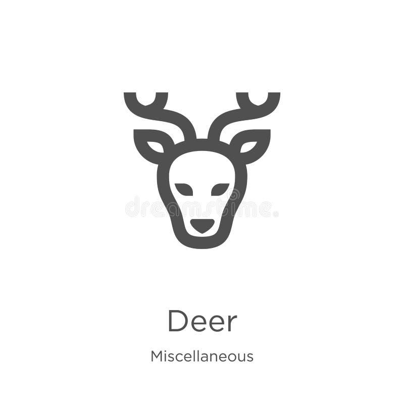 vector del icono de los ciervos de la colección diversa L?nea fina ejemplo del vector del icono del esquema de los ciervos Esquem libre illustration