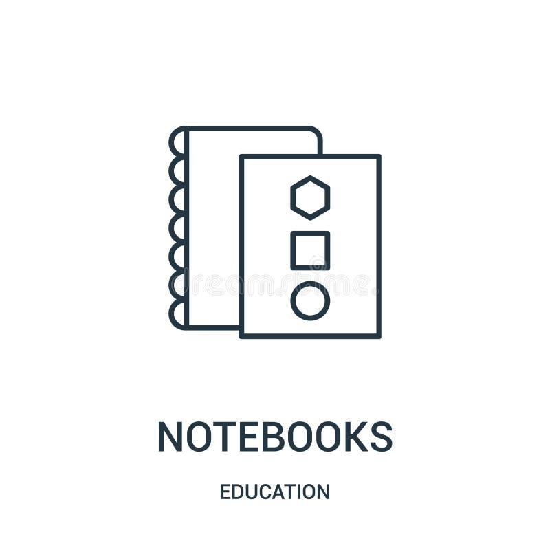 vector del icono de los cuadernos de la colecci?n de la educaci?n L?nea fina ejemplo del vector del icono del esquema de los cuad libre illustration