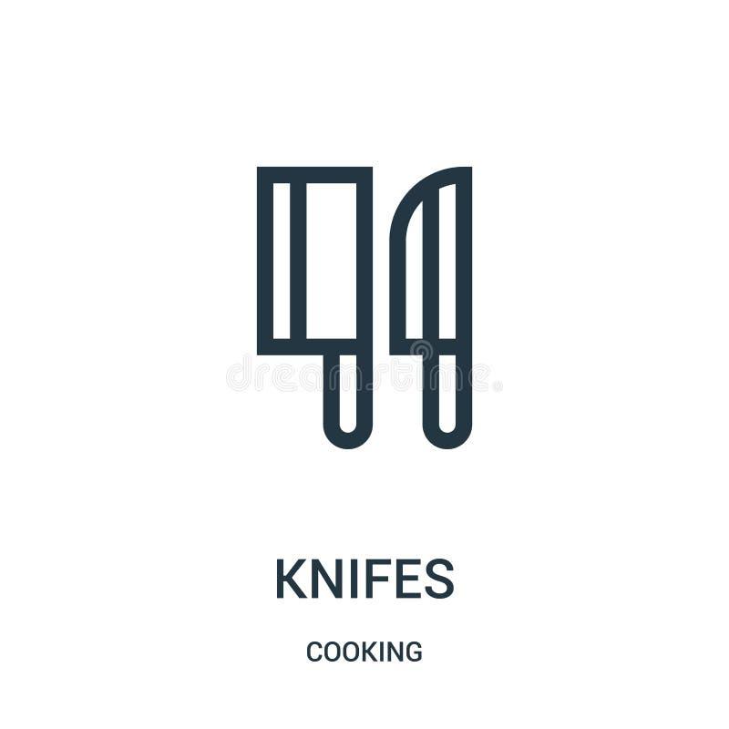 vector del icono de los cuchillos de cocinar la colección Línea fina ejemplo del vector del icono del esquema de los cuchillos Sí libre illustration