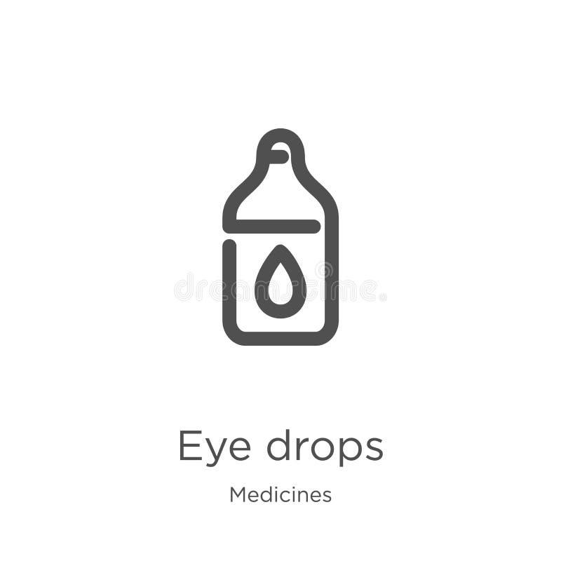 vector del icono de los descensos de ojo de la colección de las medicinas Línea fina ejemplo del vector del icono del esquema de  libre illustration